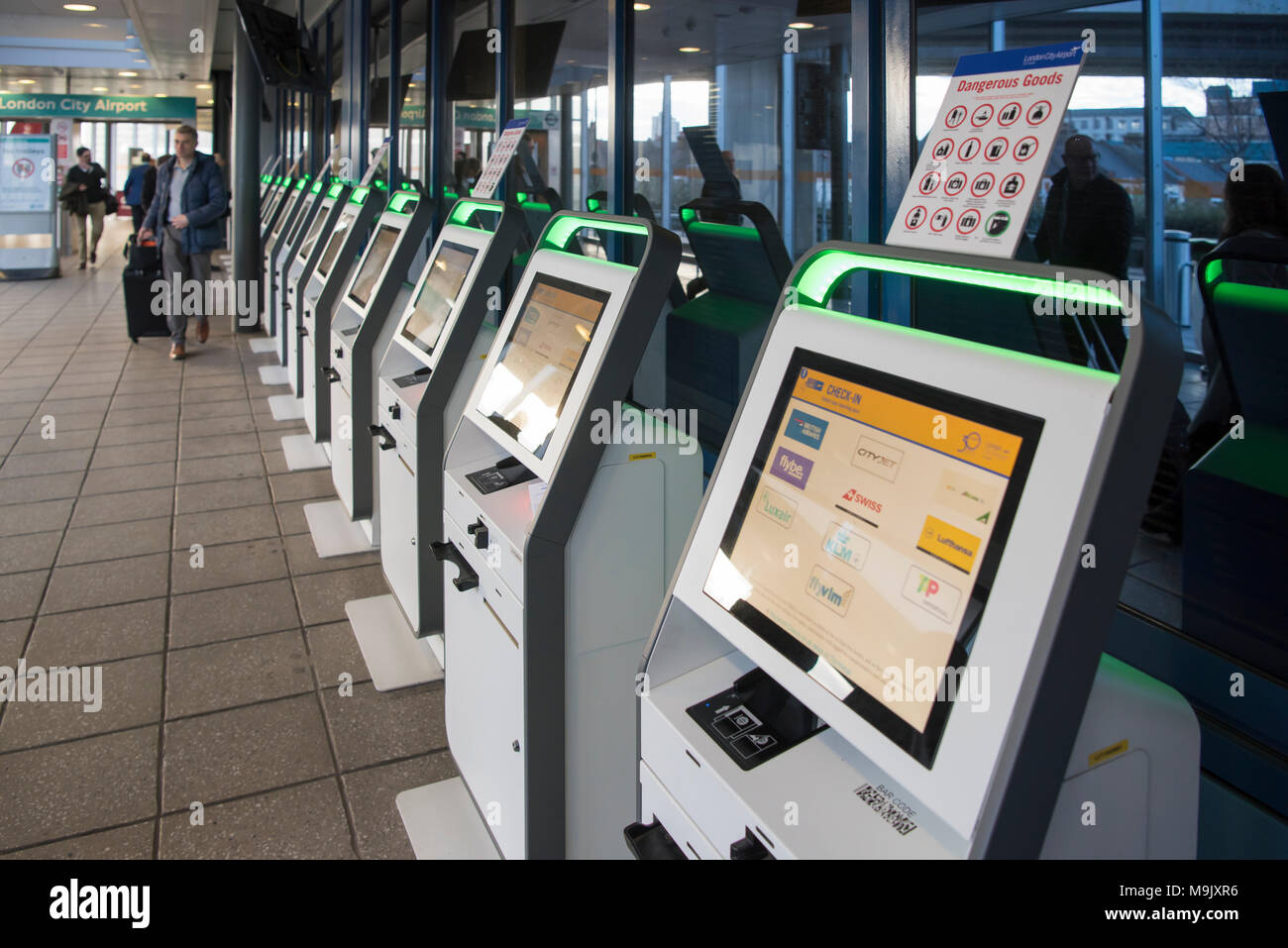 Self Service Airline Check In Desk Boarding Pass Printers At London