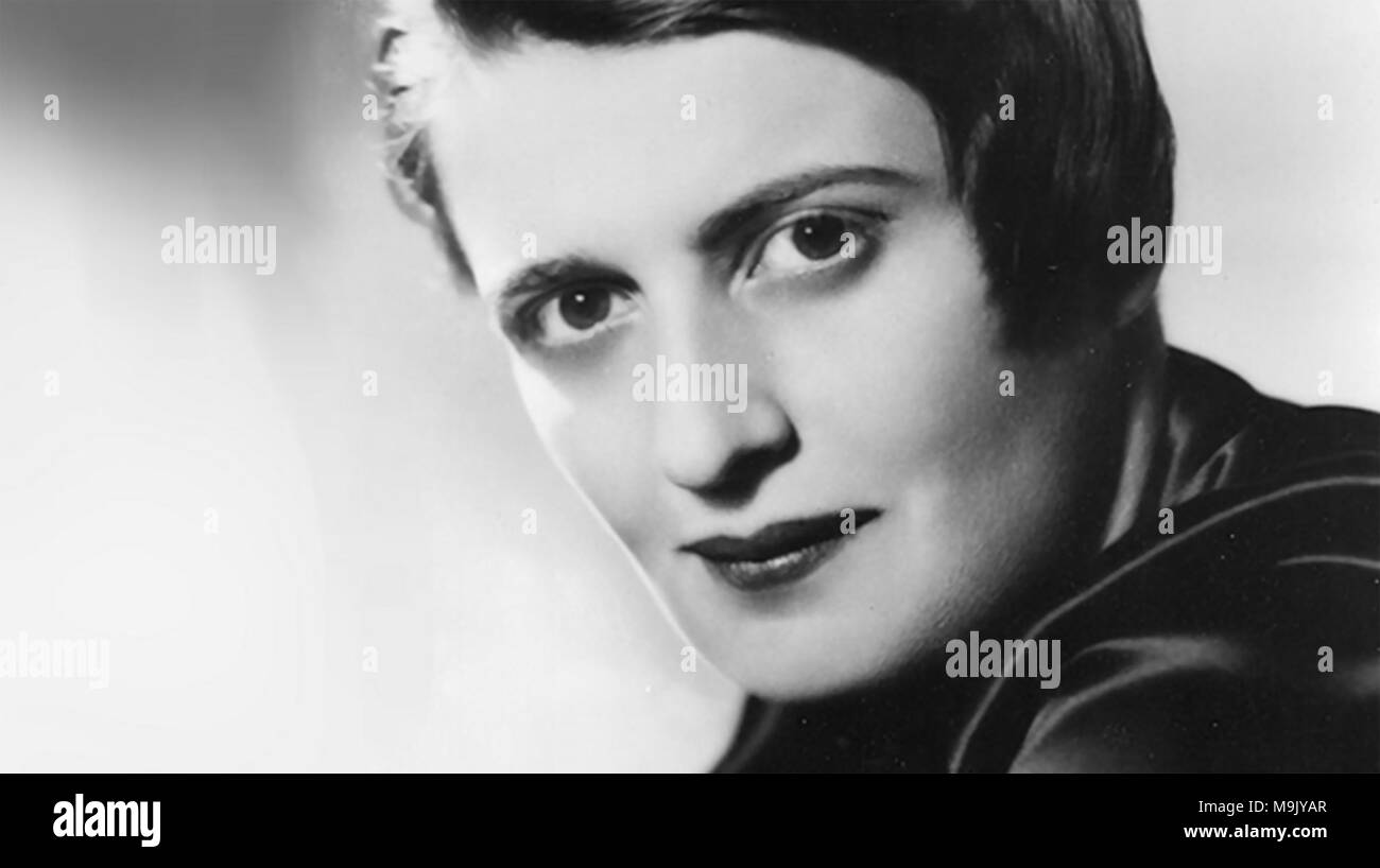 AYN RAND (1905-1982) Russian-American writer, novelist, playwright and screen writer about 1935 - Stock Image