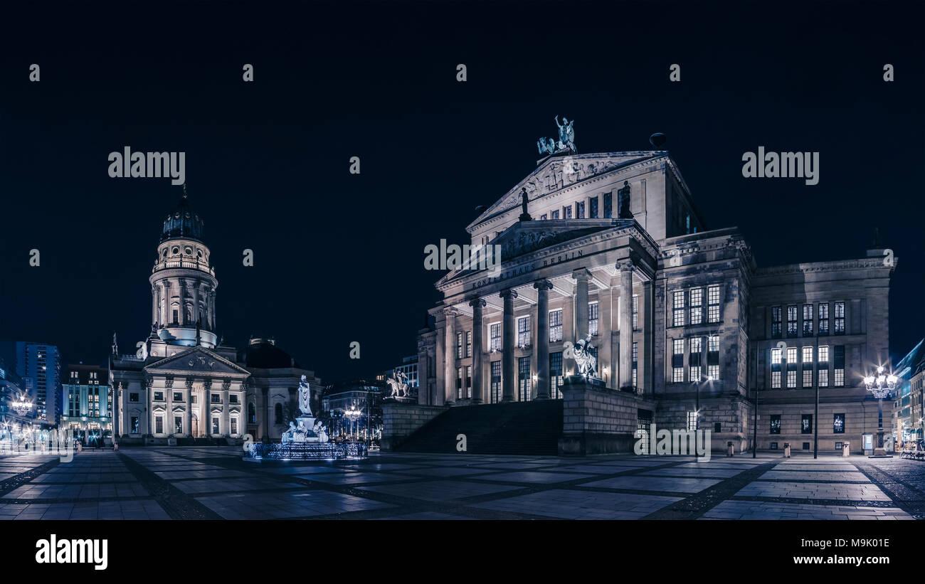 Panoramic night view of Gendarmenmarkt, Berlin. - Stock Image