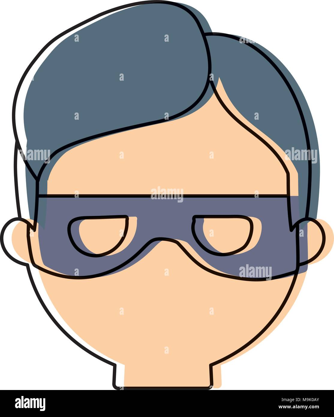 cartoon thief face icon over white background, colorful design. vector illustration Stock Vector