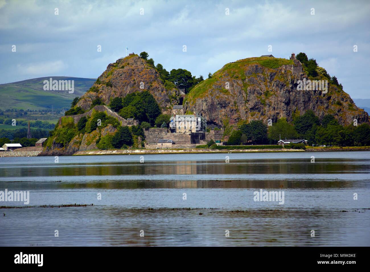 Dumbarton Castle River Clyde Scotland - Stock Image