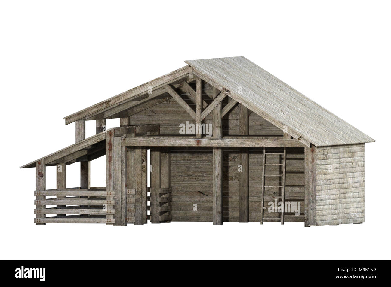 Empty wooden barn isolated on white, 3d render. - Stock Image