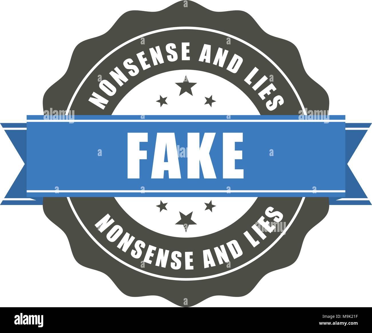 Fake badge - sticker with inscription Fake, falsification concept - Stock Image