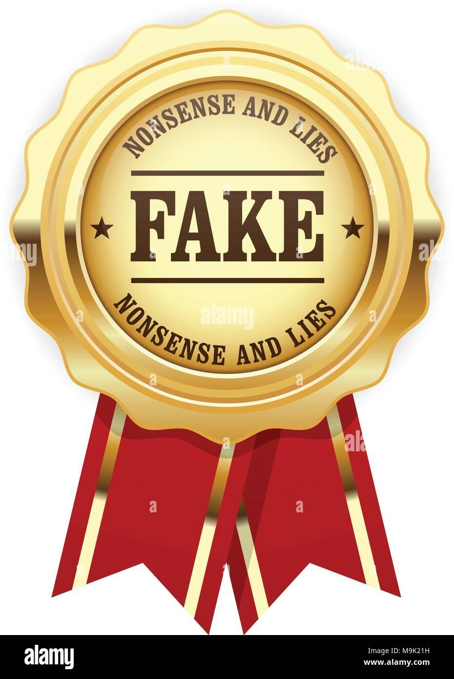 Fake rosette - golden seal with inscription Fake, falsification concept - Stock Image