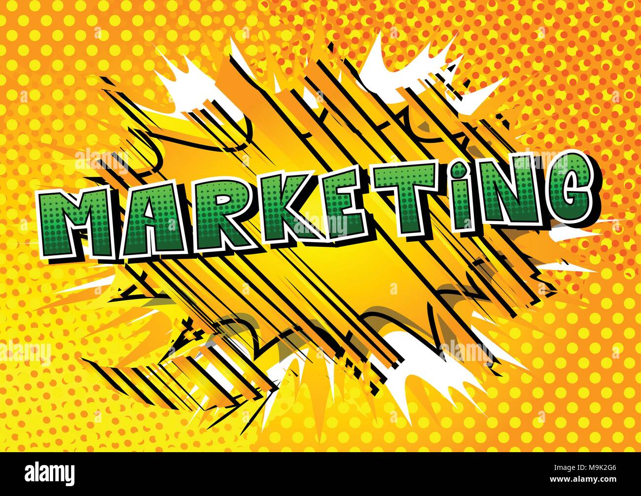 Marketing - Comic book style word on abstract background. - Stock Image