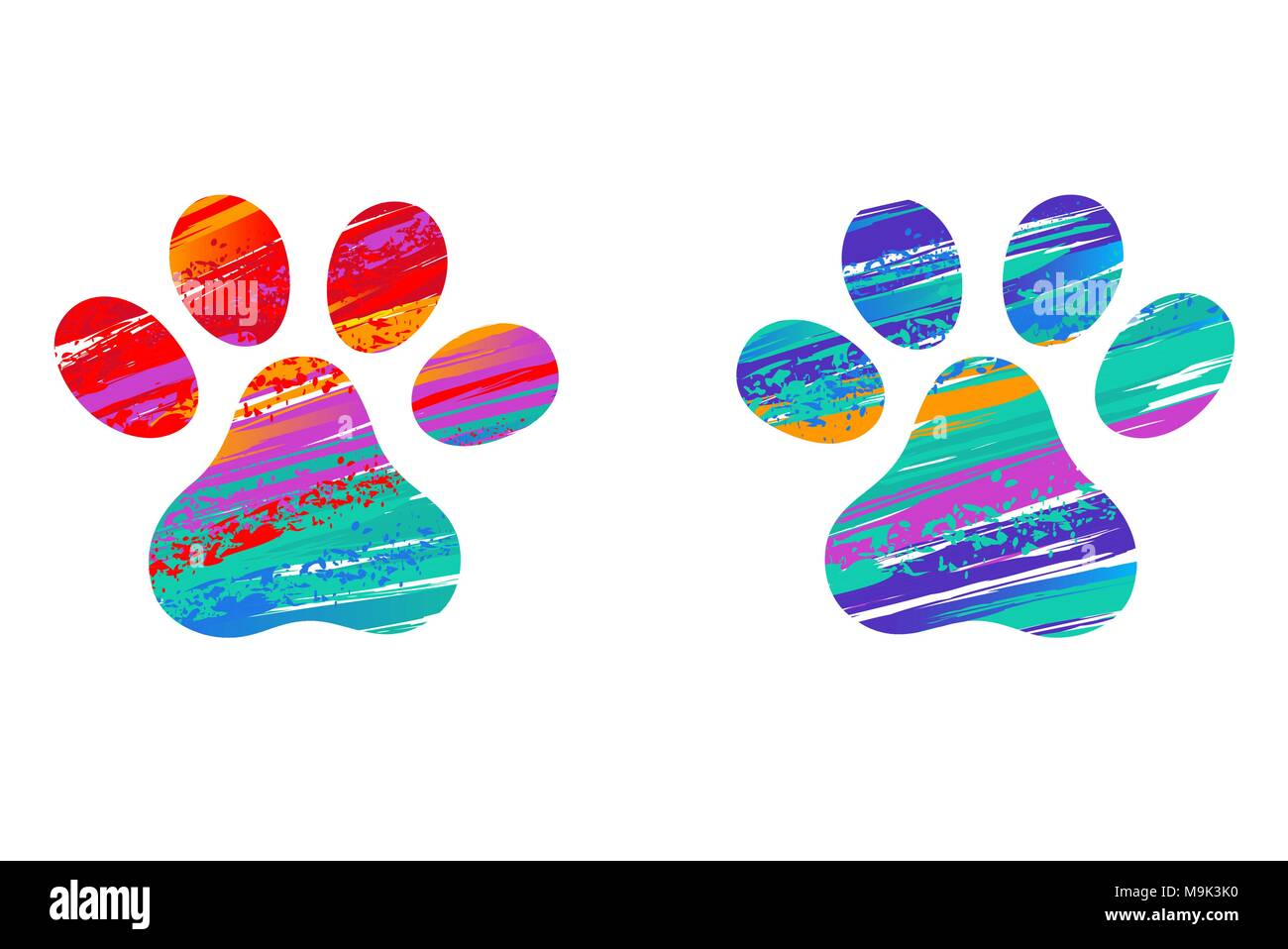 Two Cats Paw Prints Decorated With Strokes Of Bright Paint