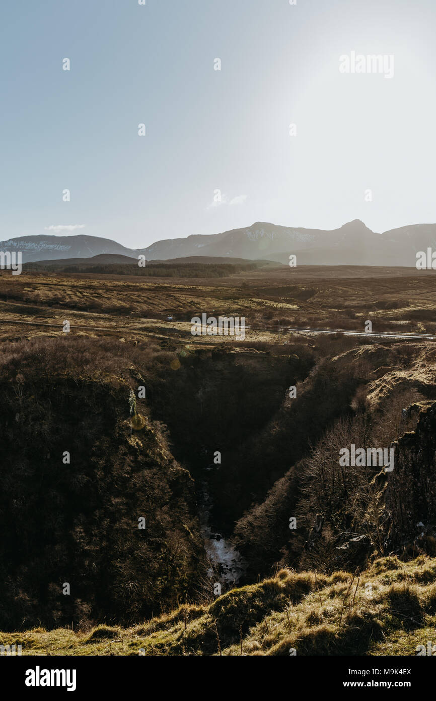 View of Isle of Skye's scenery from Lealt Falls' viewpoint, Scotland. - Stock Image