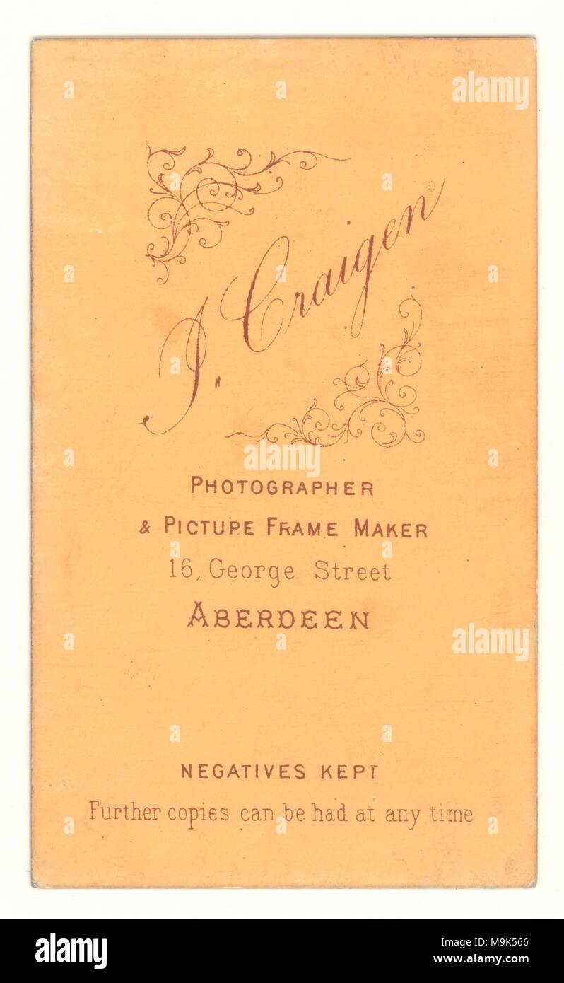 Reverse of Victorian Carte de Visite circa late 1890s, from studios of J. Craigen, Aberdeen, Scotland, U.K. - Stock Image