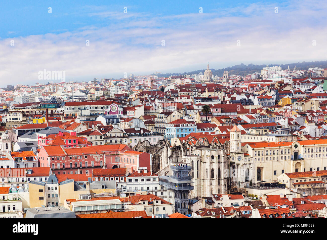 1 March 2013: Lisbon, Portugal - A view of the city from the Moorish Castle, with the Santa Justa Lift in the middle. - Stock Image