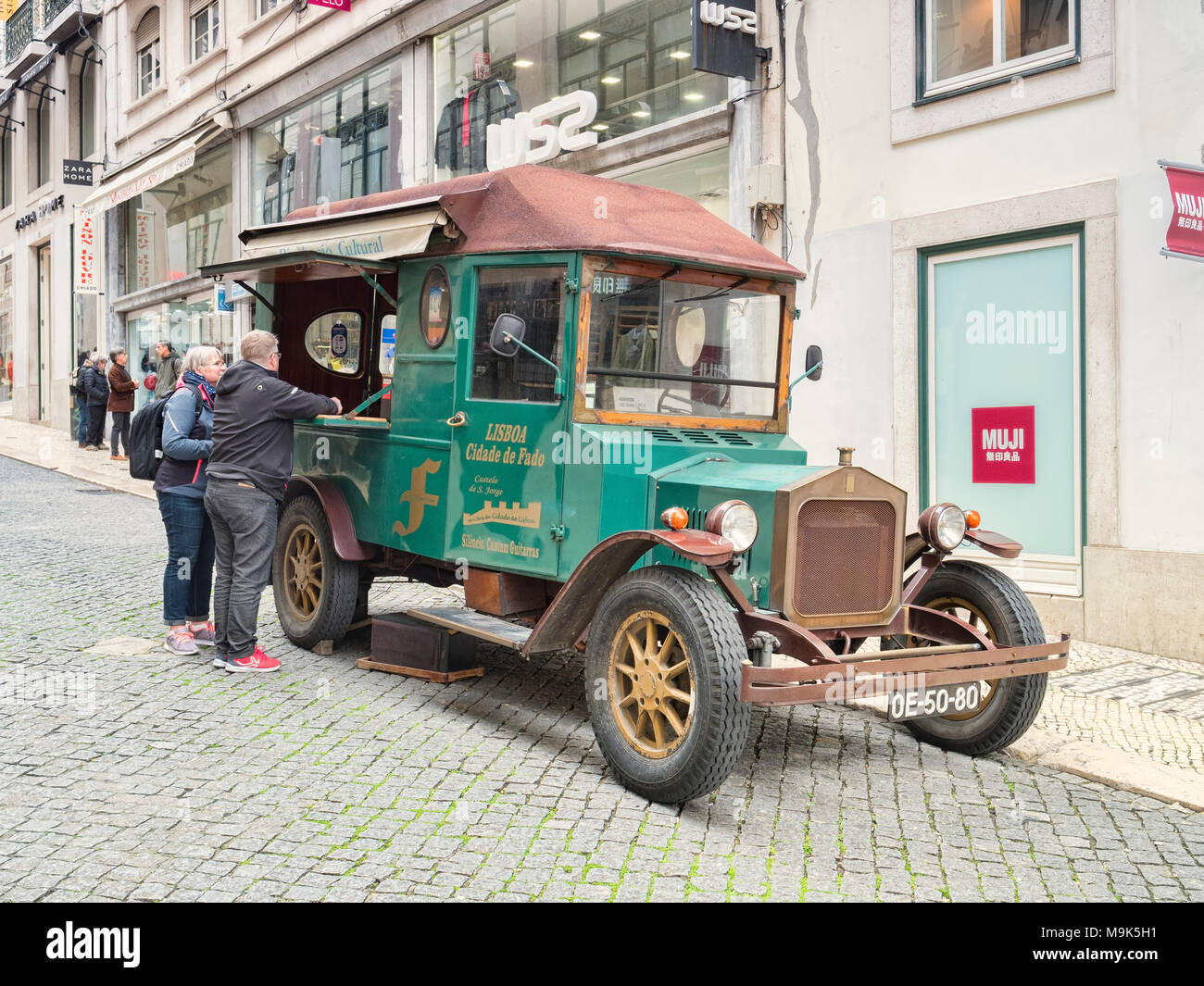 7 March 2018: Lisbon, Portugal - Mobile Fado music shop and disco, playing Fado music and selling CDs on the streets of the city. - Stock Image