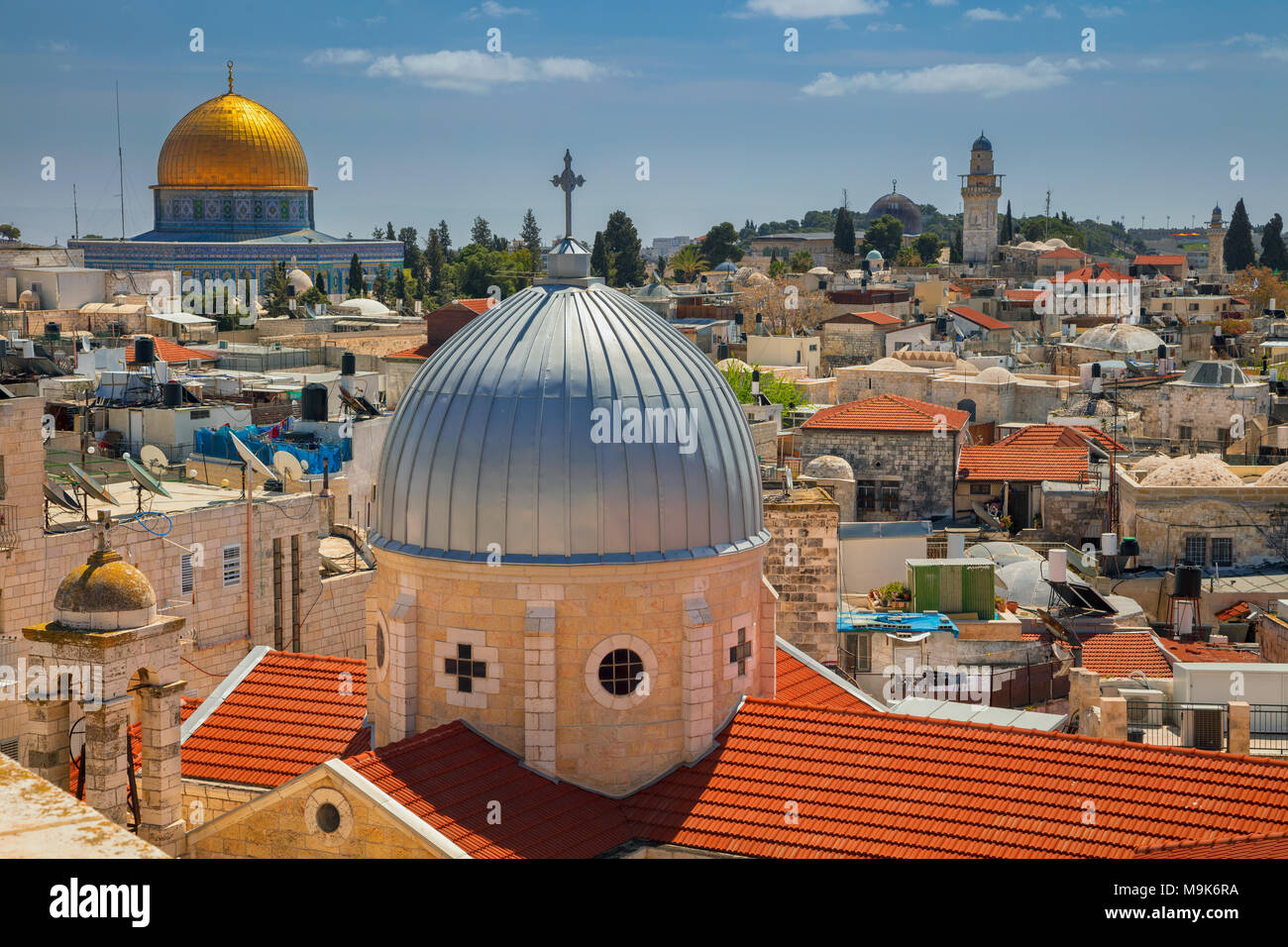 Jerusalem. Cityscape image of old town Jerusalem, Israel with the Church of St. Mary of agony and the Dome of the Rock. - Stock Image