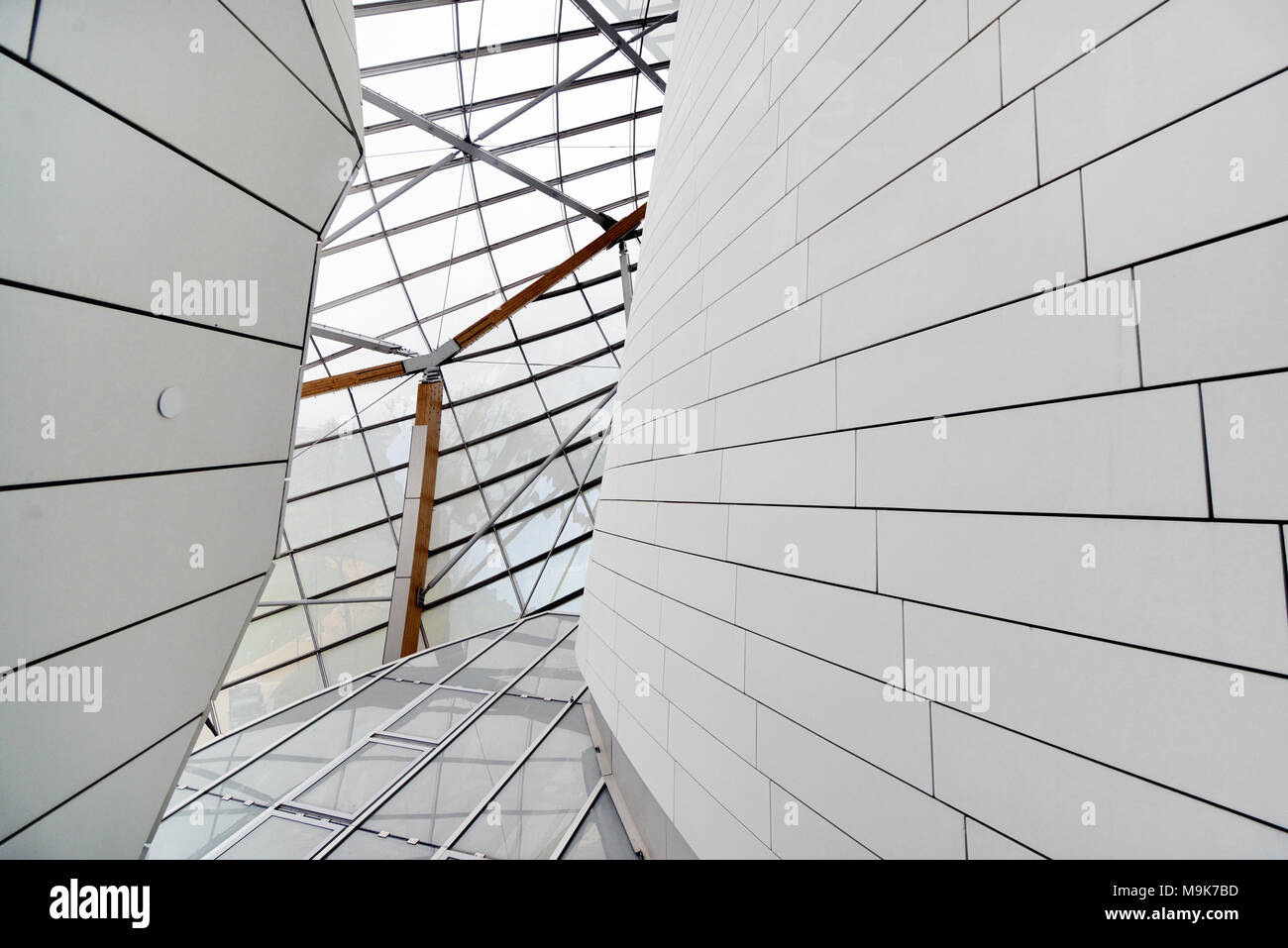Wall Detail & Glass Roof of the Louis Vuitton Foundation Art Museum & Cultural Centre (2006-14) designed by Frank Gehry, Paris, France - Stock Image
