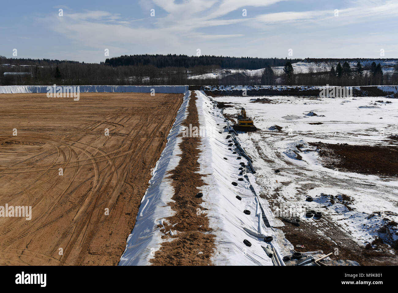 Moscow Oblast, Russia. 25 March, 2018. Base for the landfill site Yadrovo in Moscow Oblast, Russia. - Stock Image
