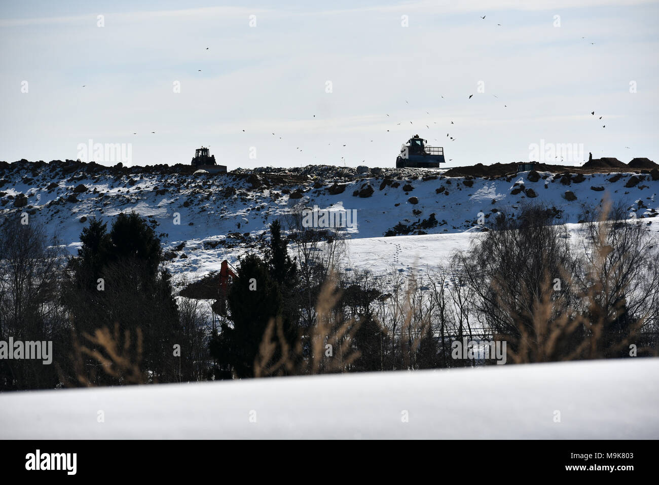 Moscow Oblast, Russia. 25 March, 2018. View of the Yadrovo landfill site in Moscow Oblast, Russia. - Stock Image