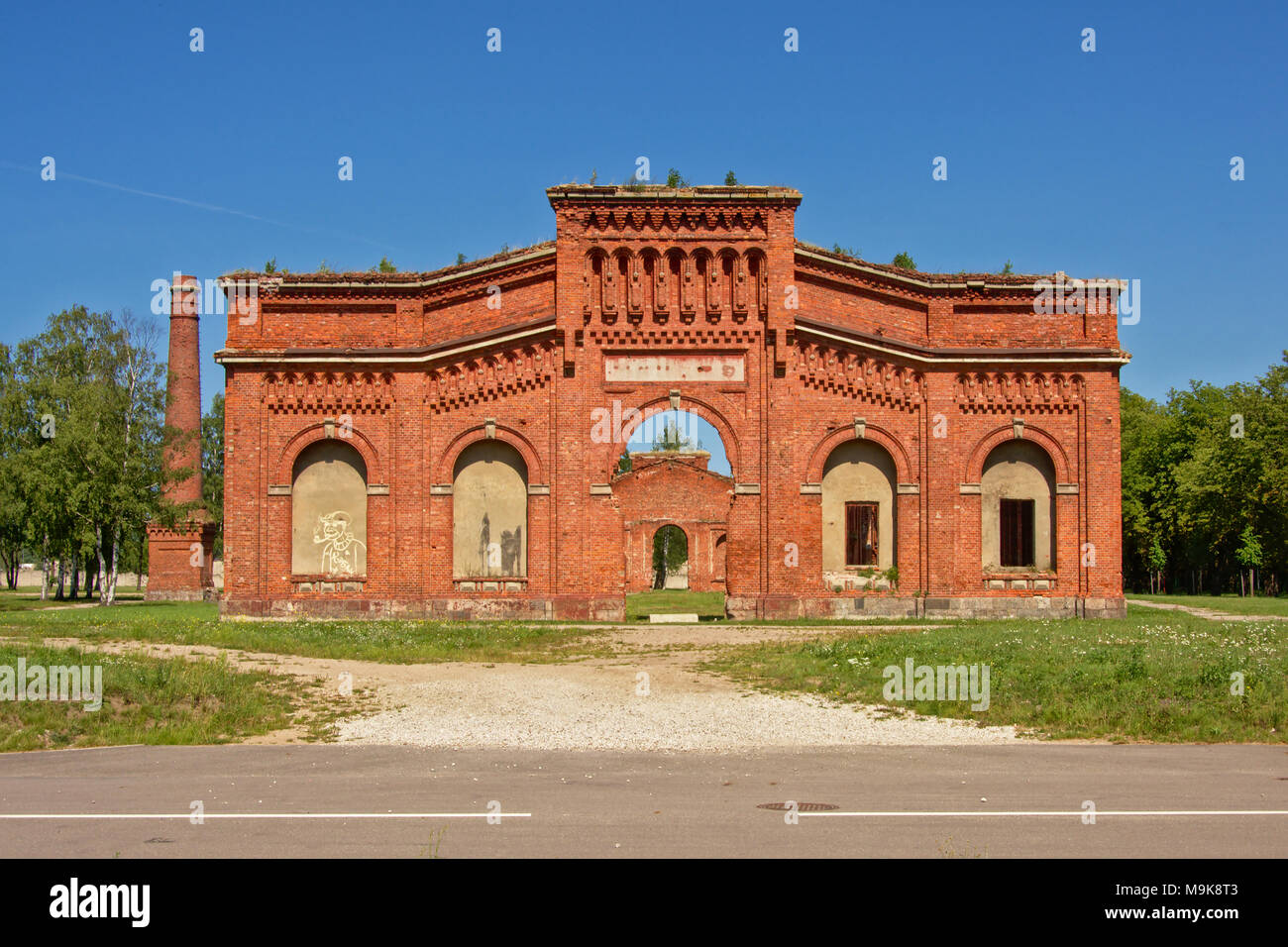 Remains of the brick stone naval port manege building, part of the old military Soviet base near Lieapaja, Latvia Stock Photo