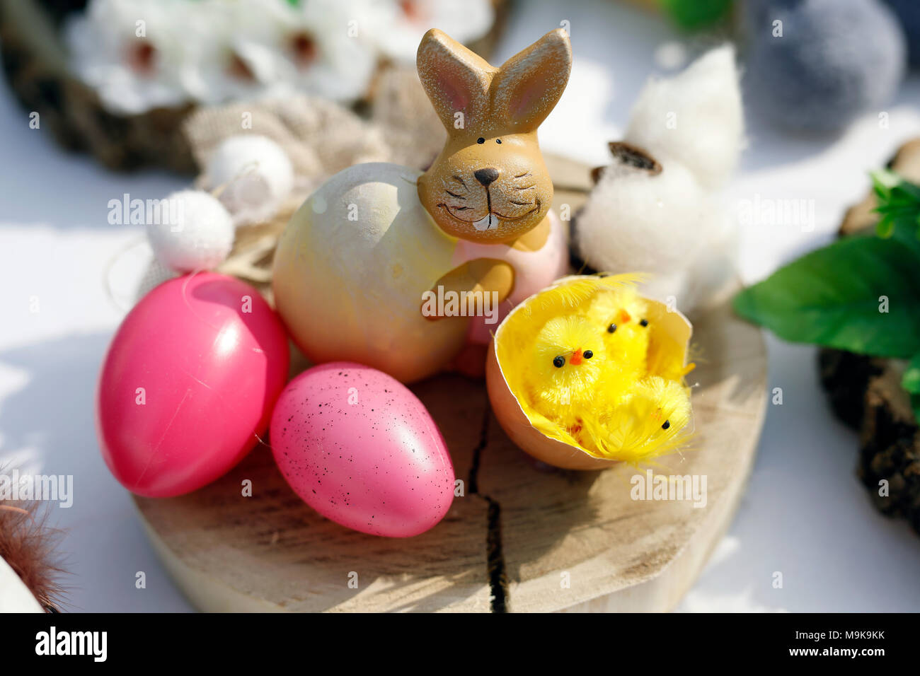 Easter decorations. Bunny, chickens and eggs. - Stock Image