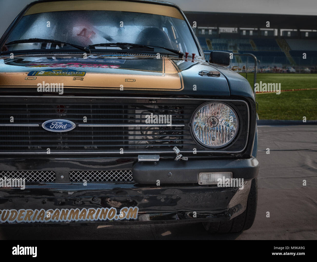 SANMARINO, SANMARINO - OTT 21, 2017 : FORD ESCORT RS 1979 in old racing car rally historical race - Stock Image