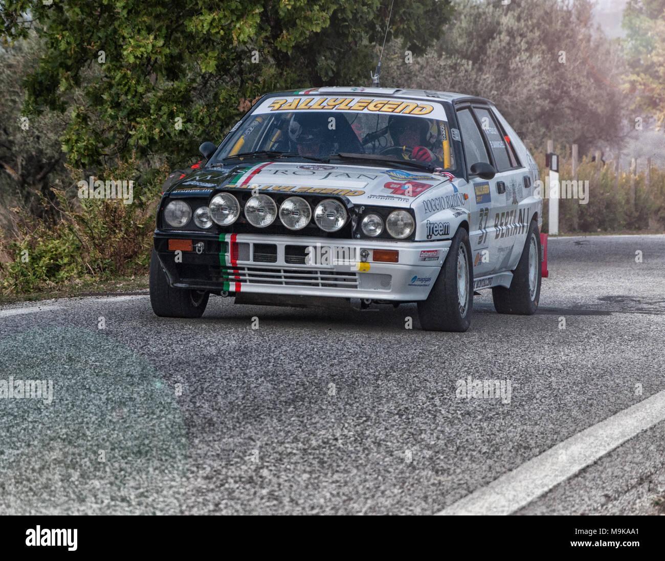 SANMARINO, SANMARINO - OTT 21, 2017 : LANCIA DELTA INT. 16V 1989 in old racing car rally THE LEGEND 2017 the famous SAN MARINO historical race - Stock Image