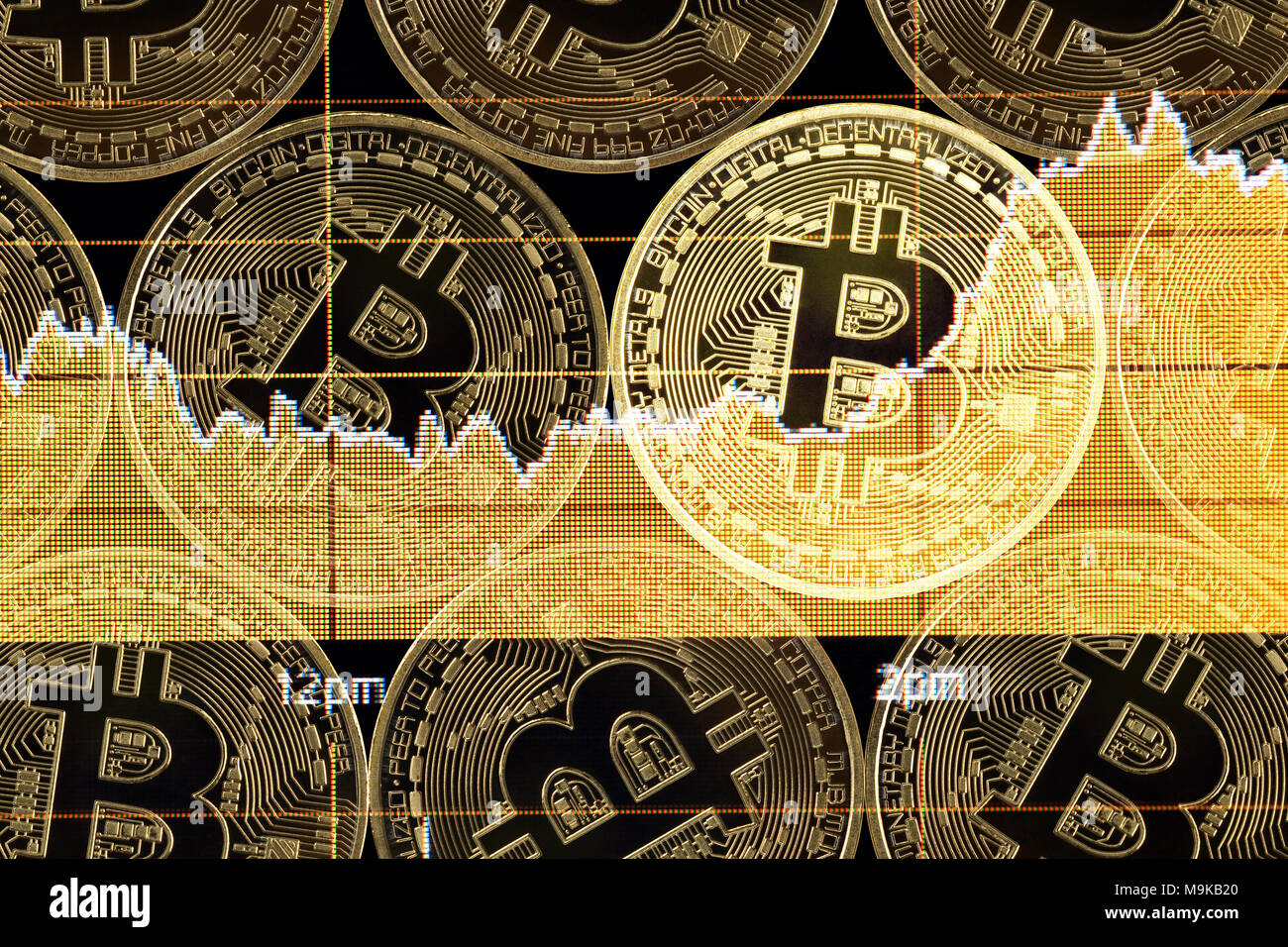 Bitcoin money on the net Stock Photo