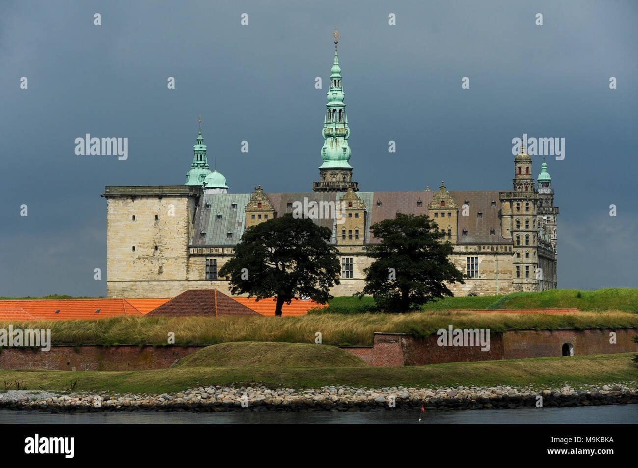 Royal Palace of Kronborg in Helsingor, Capital Region of Denmark, Denmark. August 15th 2010, built in XV century as Krogen fortress by king Eric of Po - Stock Image