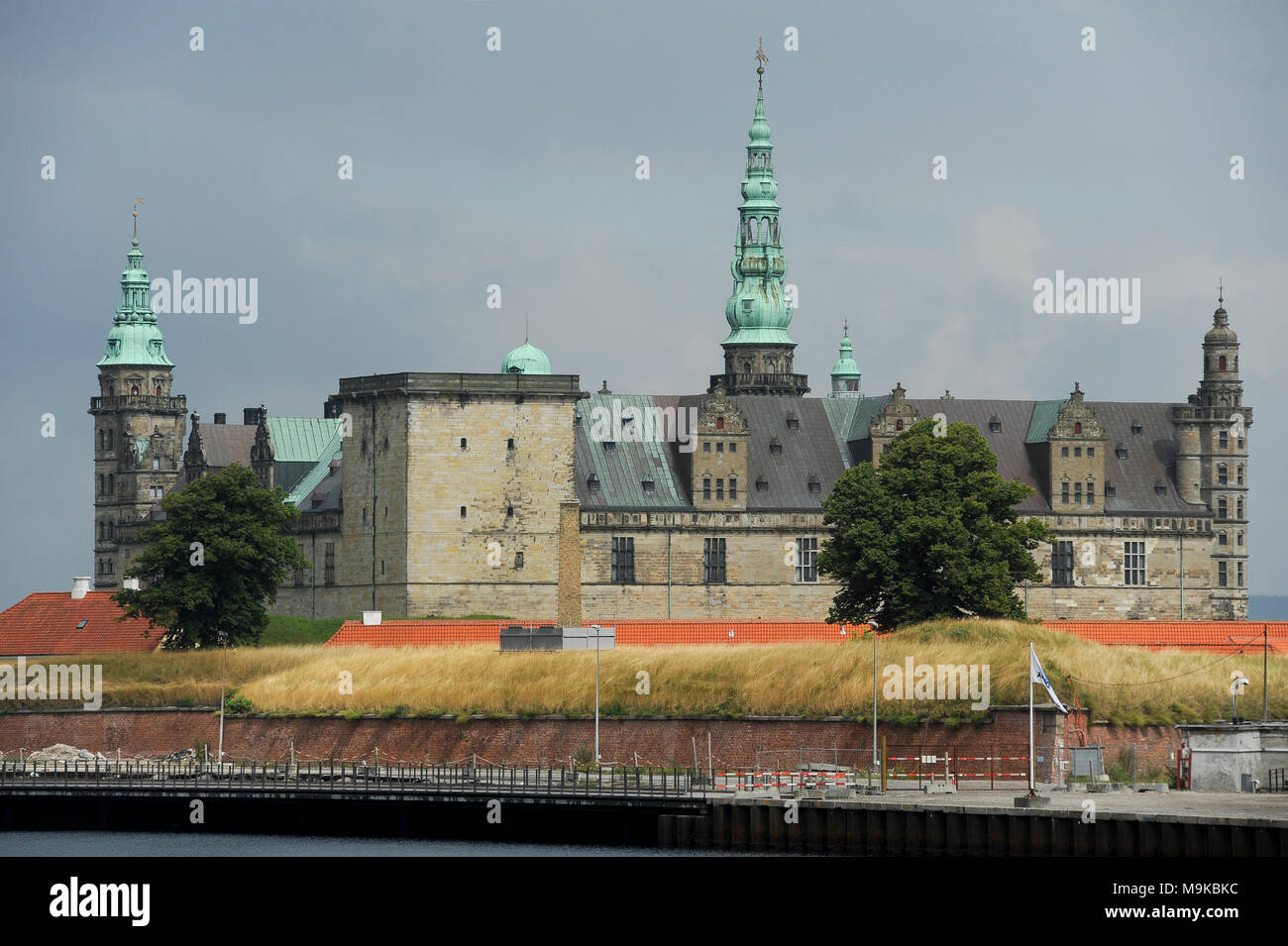 Royal Palace of Kronborg in Helsingor, Capital Region of Denmark, Denmark. August 15th 2010, built in XV century as Krogen fortress by king Eric of Po - Stock Image