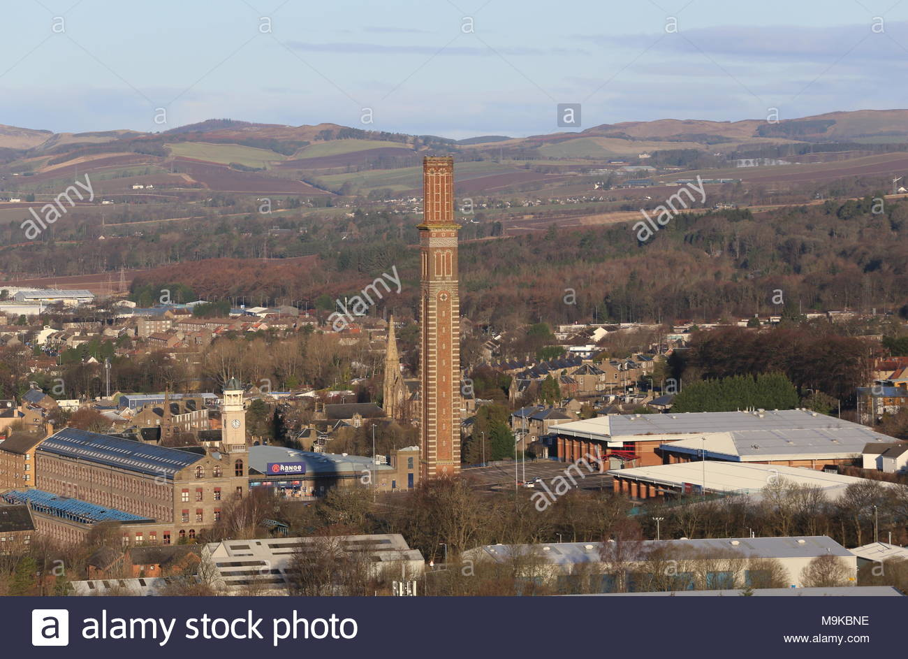 Elevated view of Cox's stack chimney Lochee Dundee Scotland  March 2018 - Stock Image