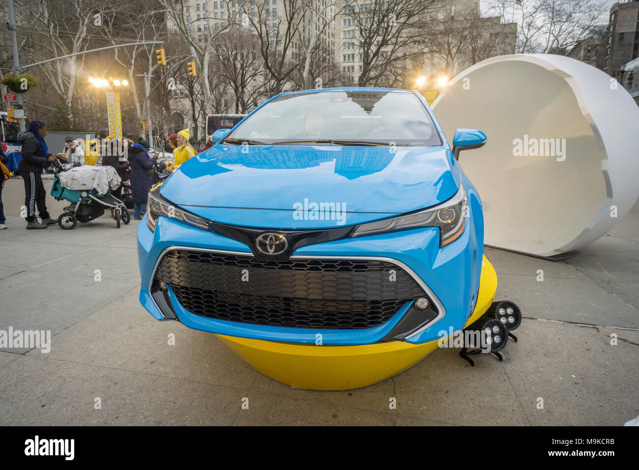 Toyota Motors branding event for its new hatchback in Flatiron Plaza in New York on Friday, March 23, 2018. (© Richard B. Levine) - Stock Image