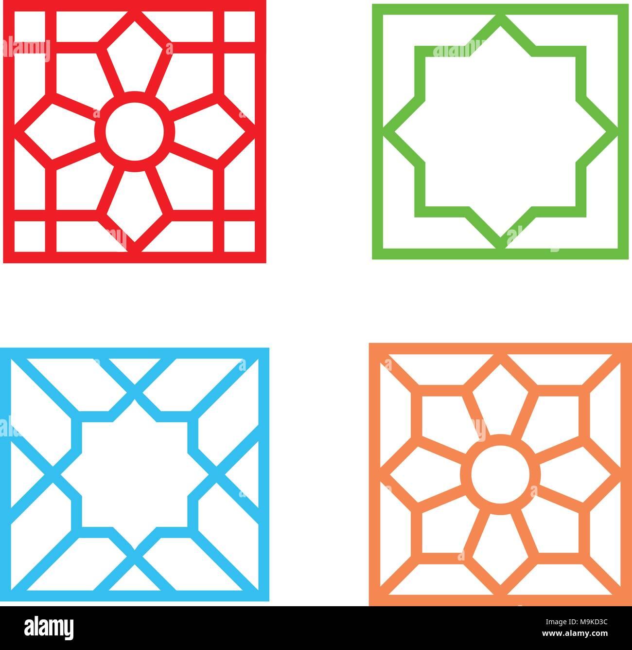 Islamic Square Tile Pattern On White Vector Art Design Stock Vector