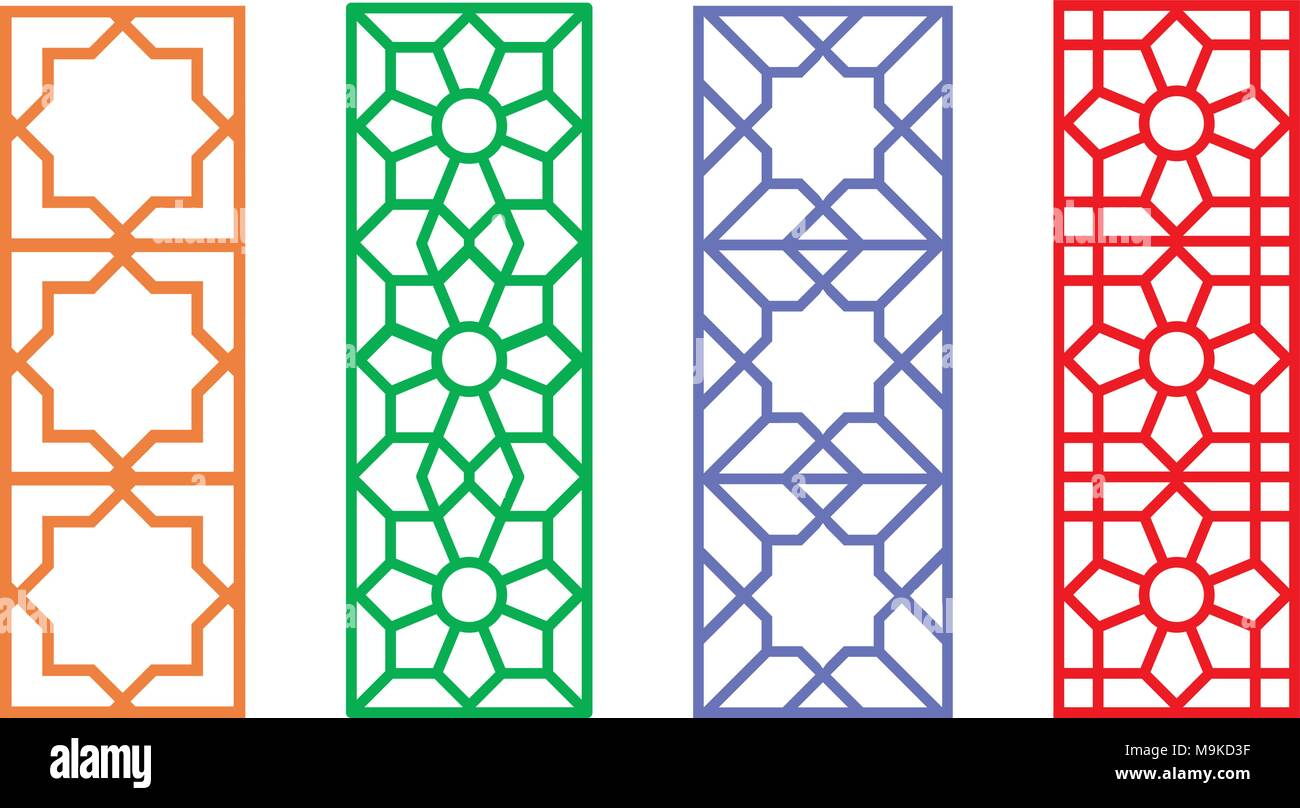 chinese rectangle window frame with islamic linear pattern