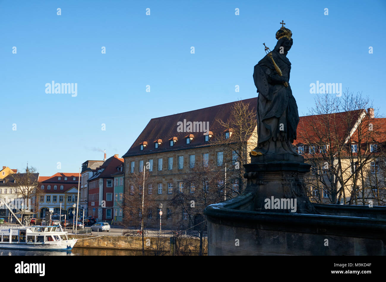 Bamberg, Germany - January 22, 2017: Statue in Untere Bruecke Bridge in Bamberg - Stock Image