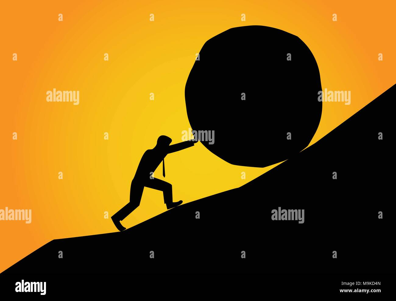 Man trying to move big stone ball to top of hill, vector - Stock Vector