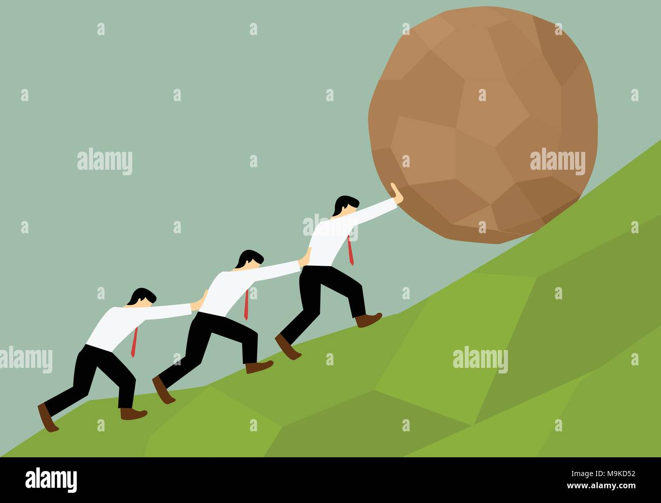 Group of Man try to move stone ball to top of hill, Teamwork concept - Stock Vector