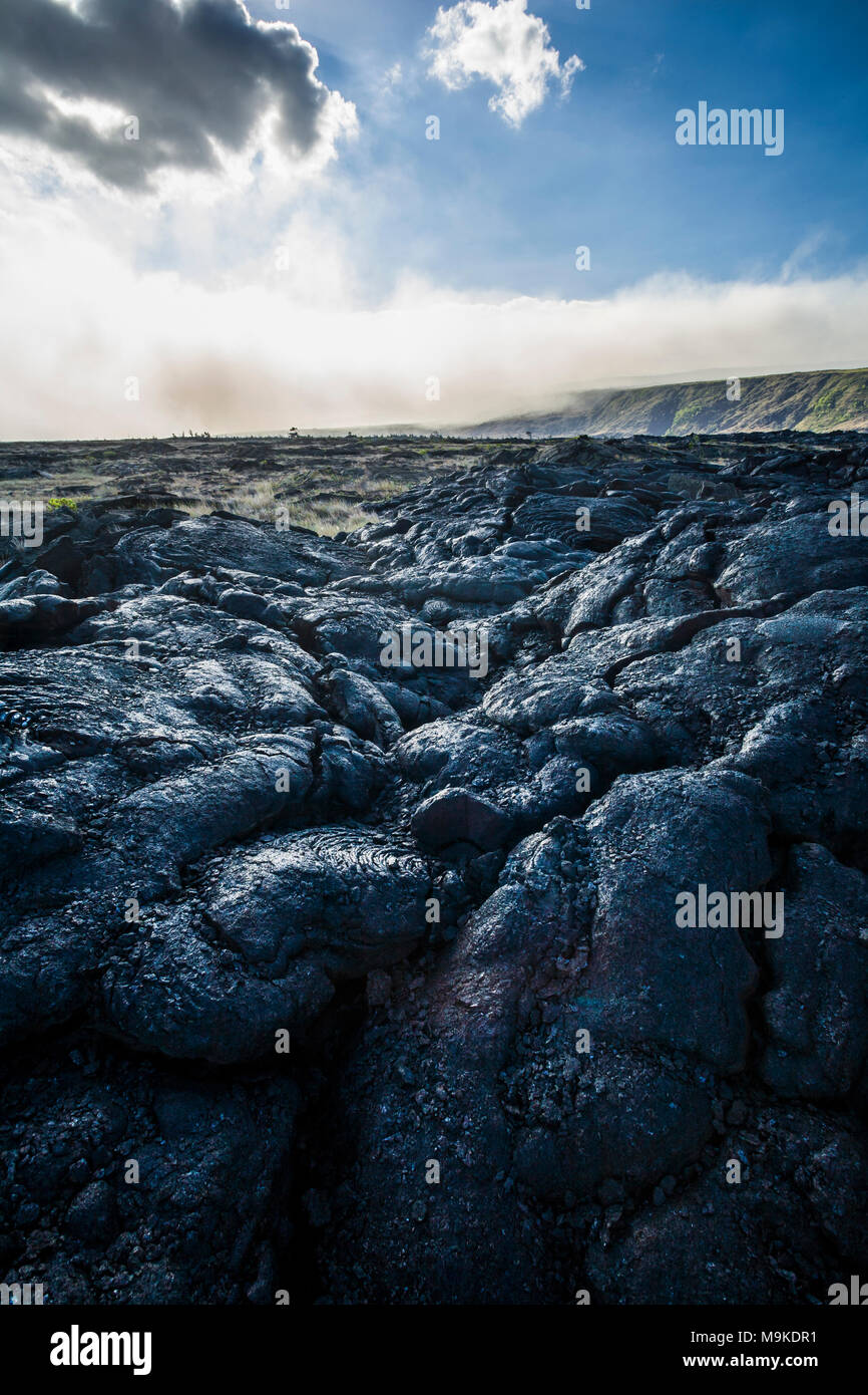 On the edge of an old lava flow looking at a bank of VOG (Volcanic Fog/ smog) drifting across the landscape in Volcanoes National Park, Hawaii, USA. - Stock Image