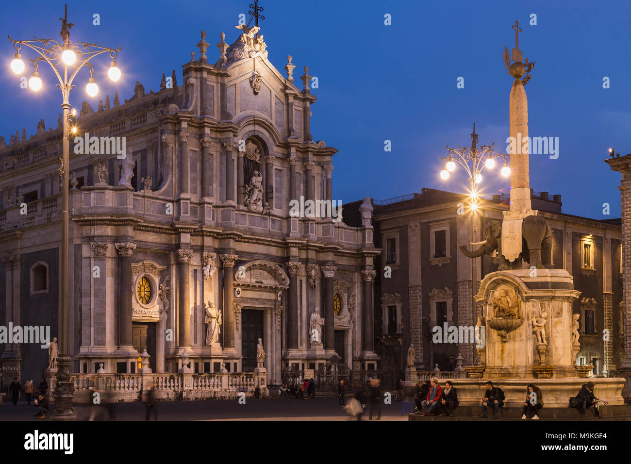 Piazza del Duomo square with the facade of the cathedral and the Elephant Fountain 'u Liotru', symbol of Catania, Sicily, Italy. - Stock Image
