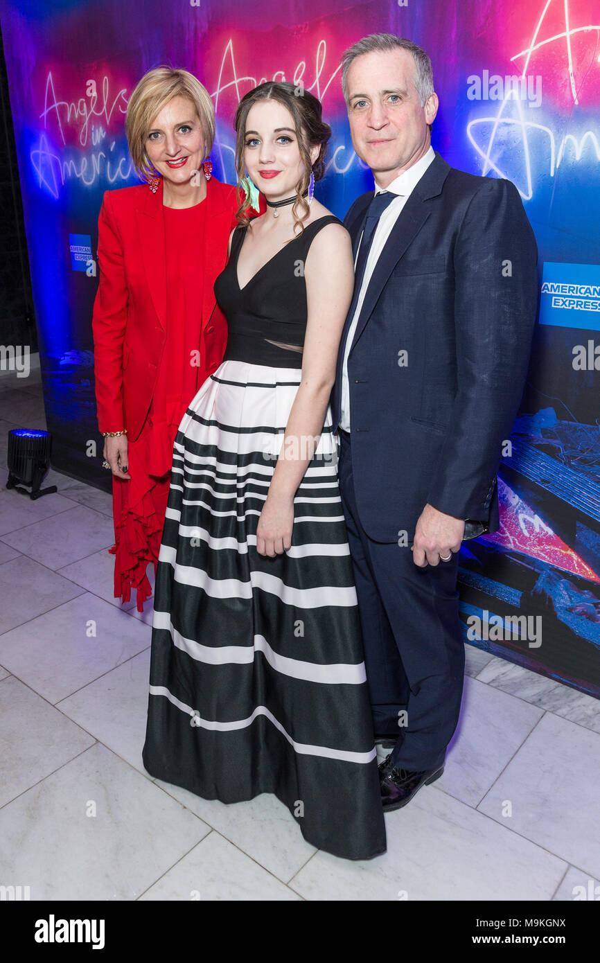 New York, United States. 25th Mar, 2018. Marianne Elliott, Eve Sidi and Nick Sidi attend revival of Angels in America play after party at Espace Credit: Lev Radin/Pacific Press/Alamy Live News - Stock Image