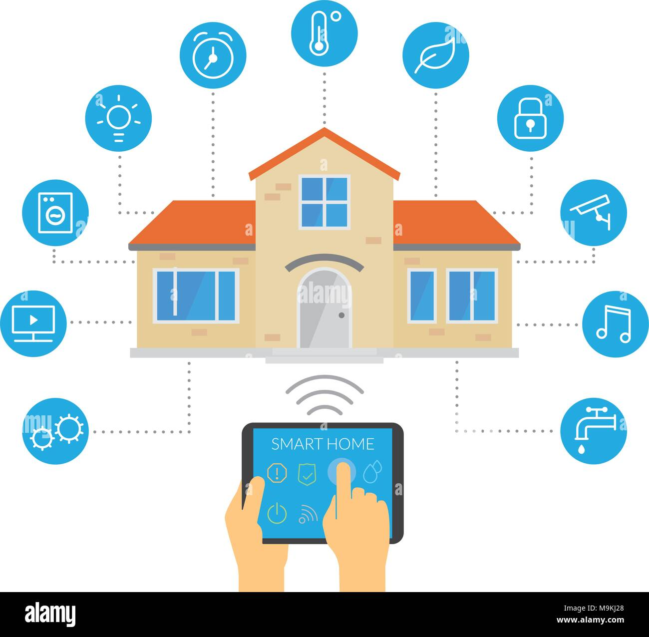 Smart House, home automation and network concept Stock Vector Art ...