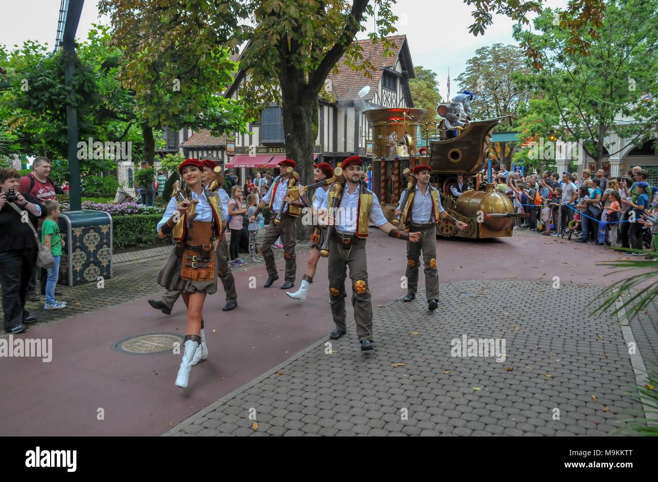 The Parade at Europa-Park is the largest theme park in Germany. is located at Rust between Freiburg and Strasbourg, France. - Stock Image
