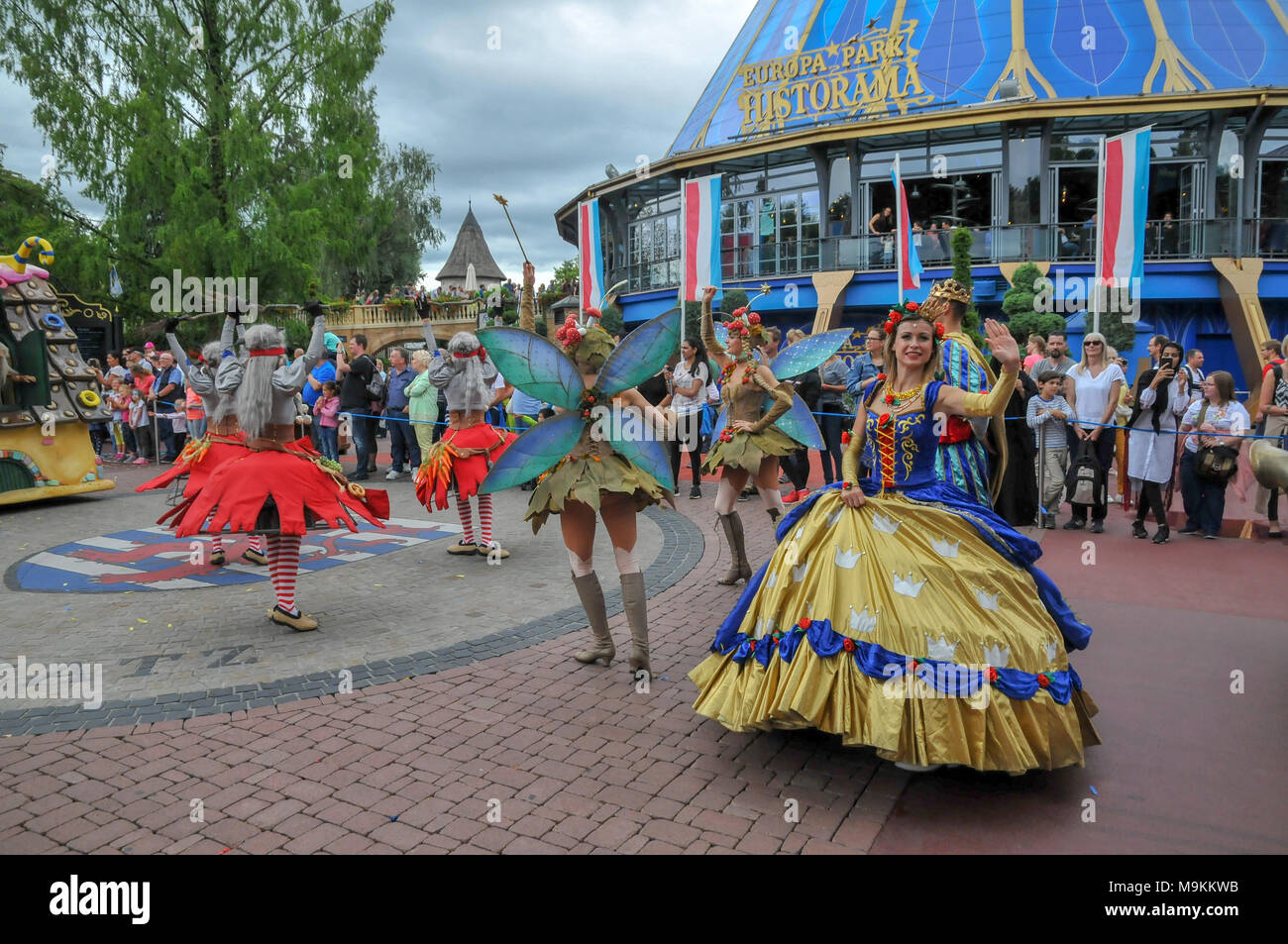 The Parade at Europa-Park is the largest theme park in Germany. is located at Rust between Freiburg and Strasbourg, France. Stock Photo