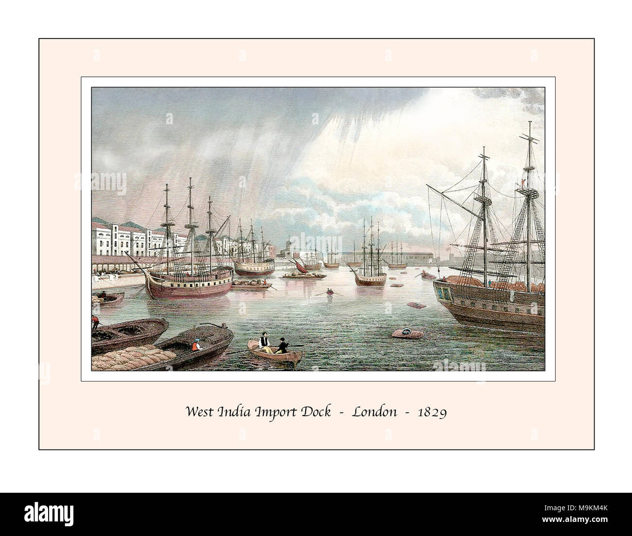 West India Dock London Original Design from a 19th century Engraving - Stock Image