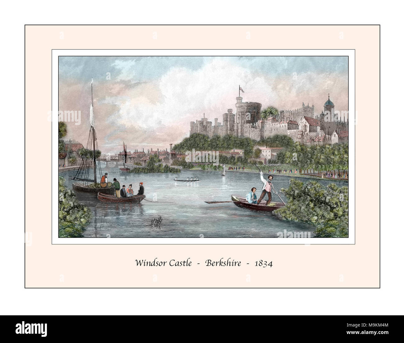 Windsor Castle Original Design from a 19th century Engraving - Stock Image