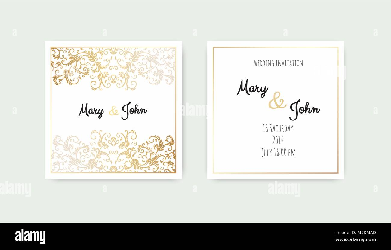 Vintage wedding invitation templates. Cover design with gold leaves ...