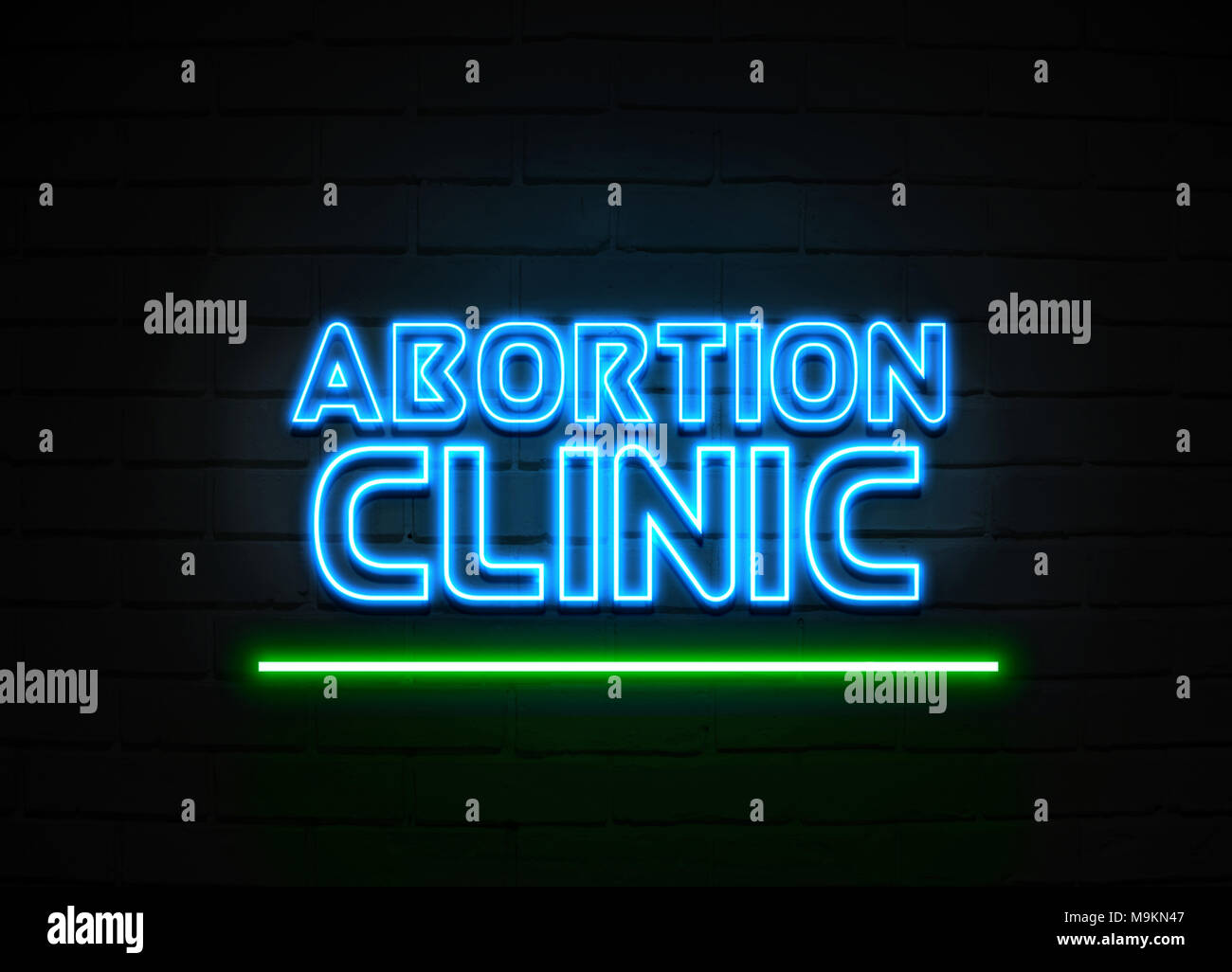 Abortion Clinic neon sign - Glowing Neon Sign on brickwall wall - 3D