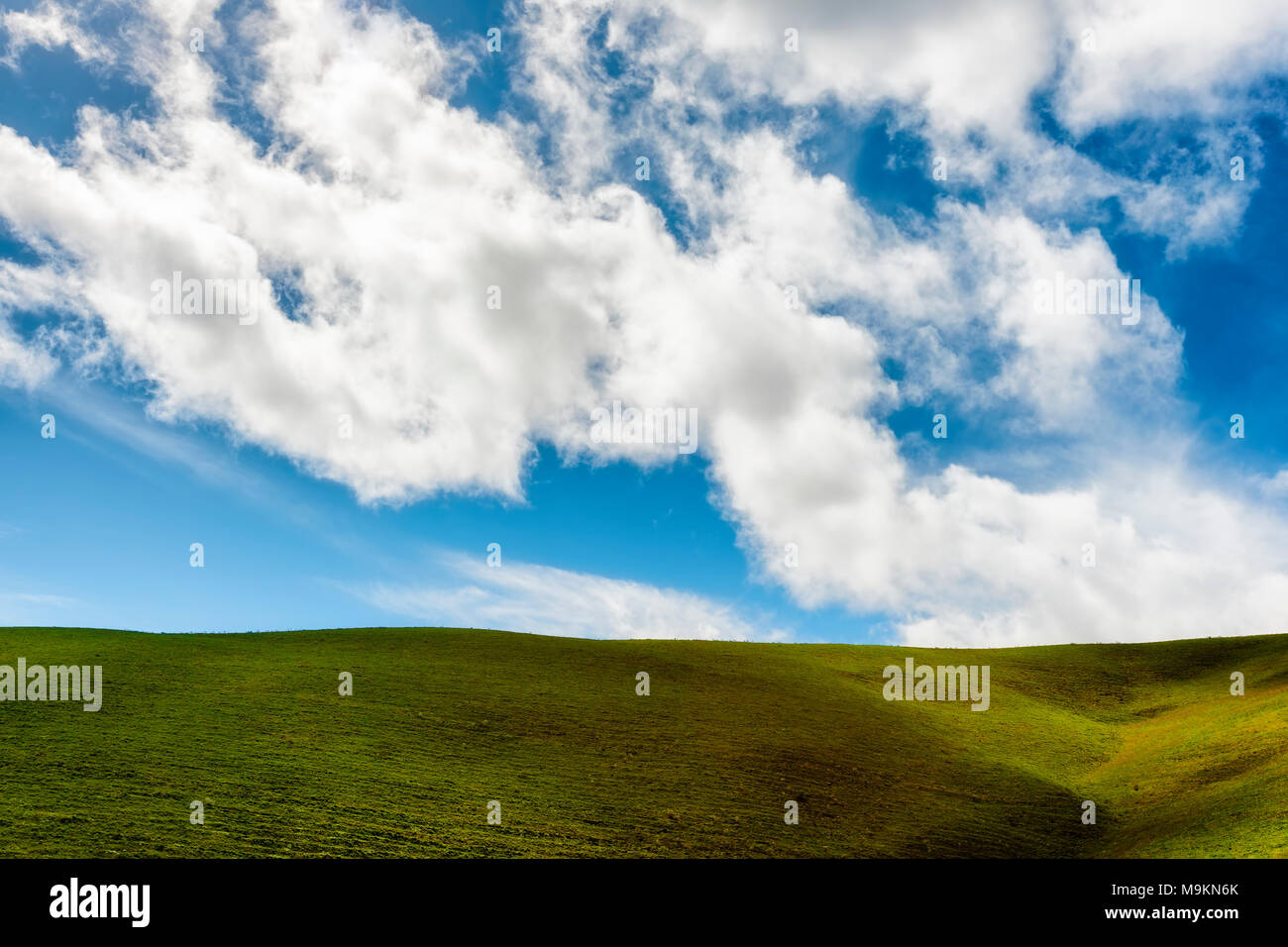 Minimalist landscape of the high desert hillside under cloudy skies in the Columbia River Gorge - Stock Image