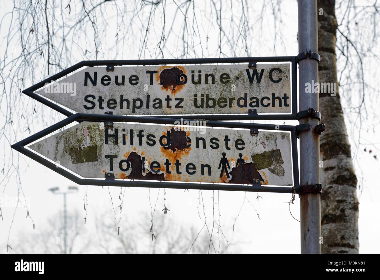 sports, football, Regional League West, 2017/2018, Grotenburg Stadium in Krefeld-Bockum, Lower Rhine, North Rhine-Westphalia, home ground of KFC Uerdingen 05, ramshackle, dilapidated, in need of renovation, oxidated signs and guideposts at the stadium - Stock Image
