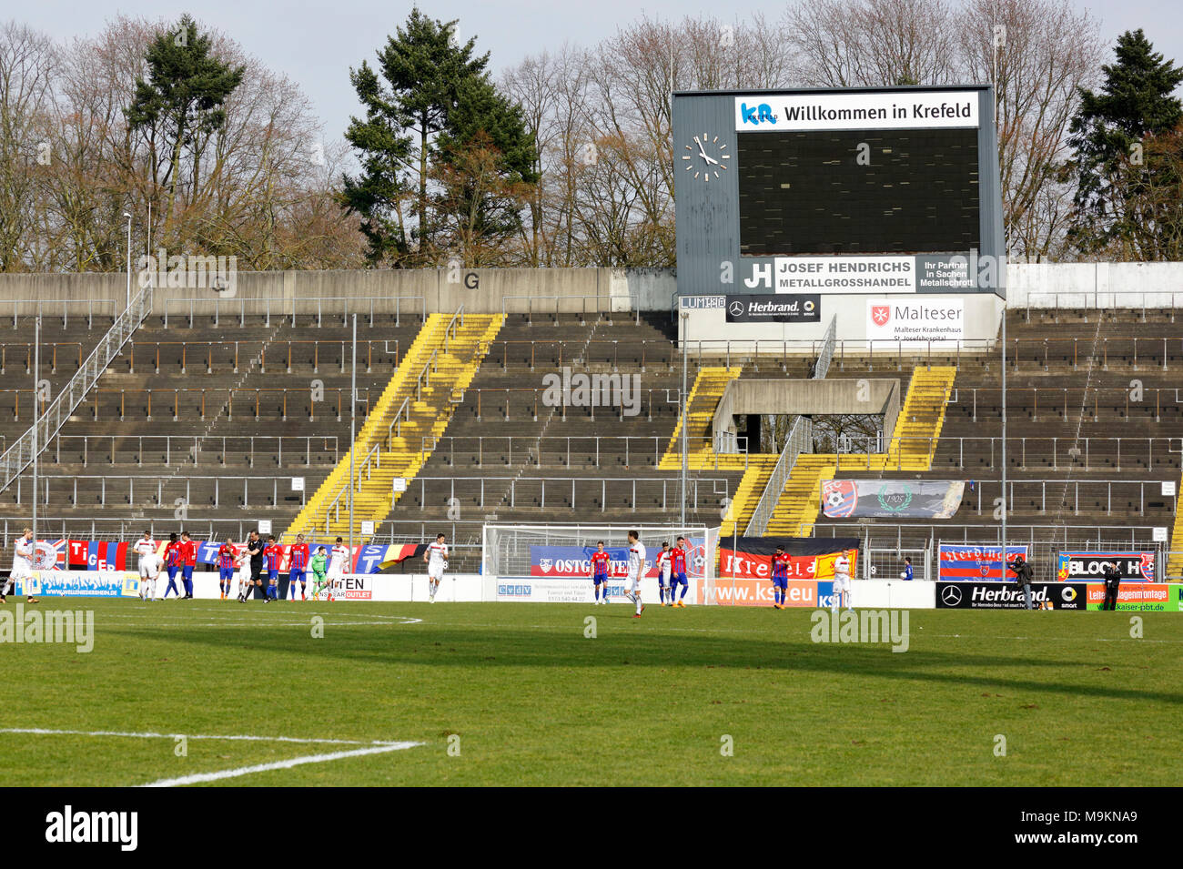 sports, football, Regional League West, 2017/2018, Grotenburg Stadium in Krefeld-Bockum, Lower Rhine, North Rhine-Westphalia, home ground of KFC Uerdingen 05, ramshackle, dilapidated, in need of renovation, grand stand - Stock Image