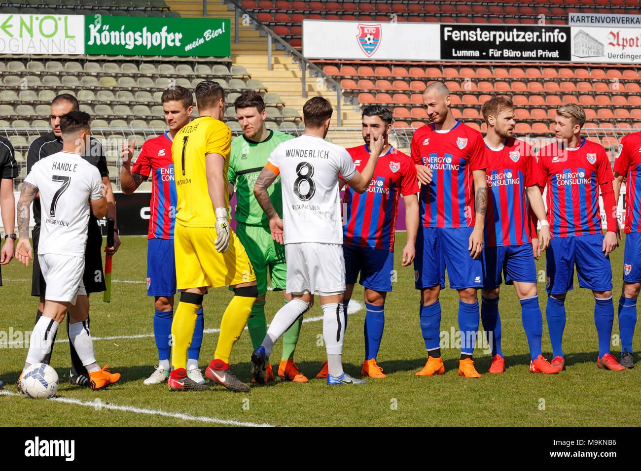 sports, football, Regional League West, 2017/2018, Grotenburg Stadium in Krefeld-Bockum, KFC Uerdingen 05 vs FC Viktoria Koeln 1904 1:1, welcome, f.l.t.r. Simon Handle (Koeln), Mario Erb (KFC), keeper Sebastian Patzler (Koeln), keeper Rene Vollath (KFC), Mike Wunderlich (Koeln), Oguzhan Kefkir (KFC), Tanju Oeztuerk (KFC), Maximilian Beister (KFC), Connor Krempicki (KFC) - Stock Image