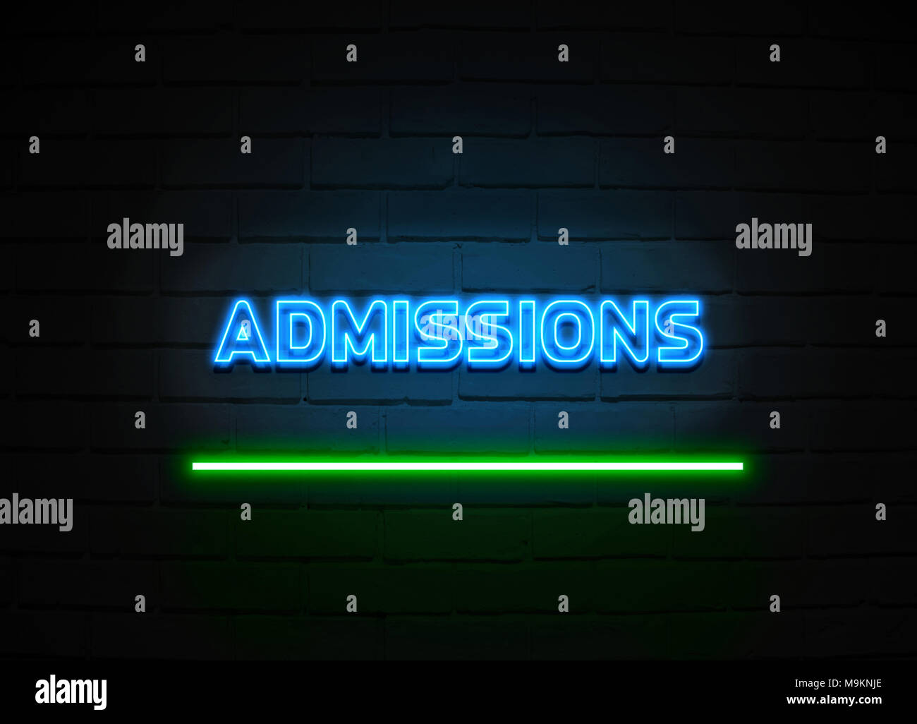 Admissions neon sign - Glowing Neon Sign on brickwall wall - 3D rendered royalty free stock illustration. - Stock Image