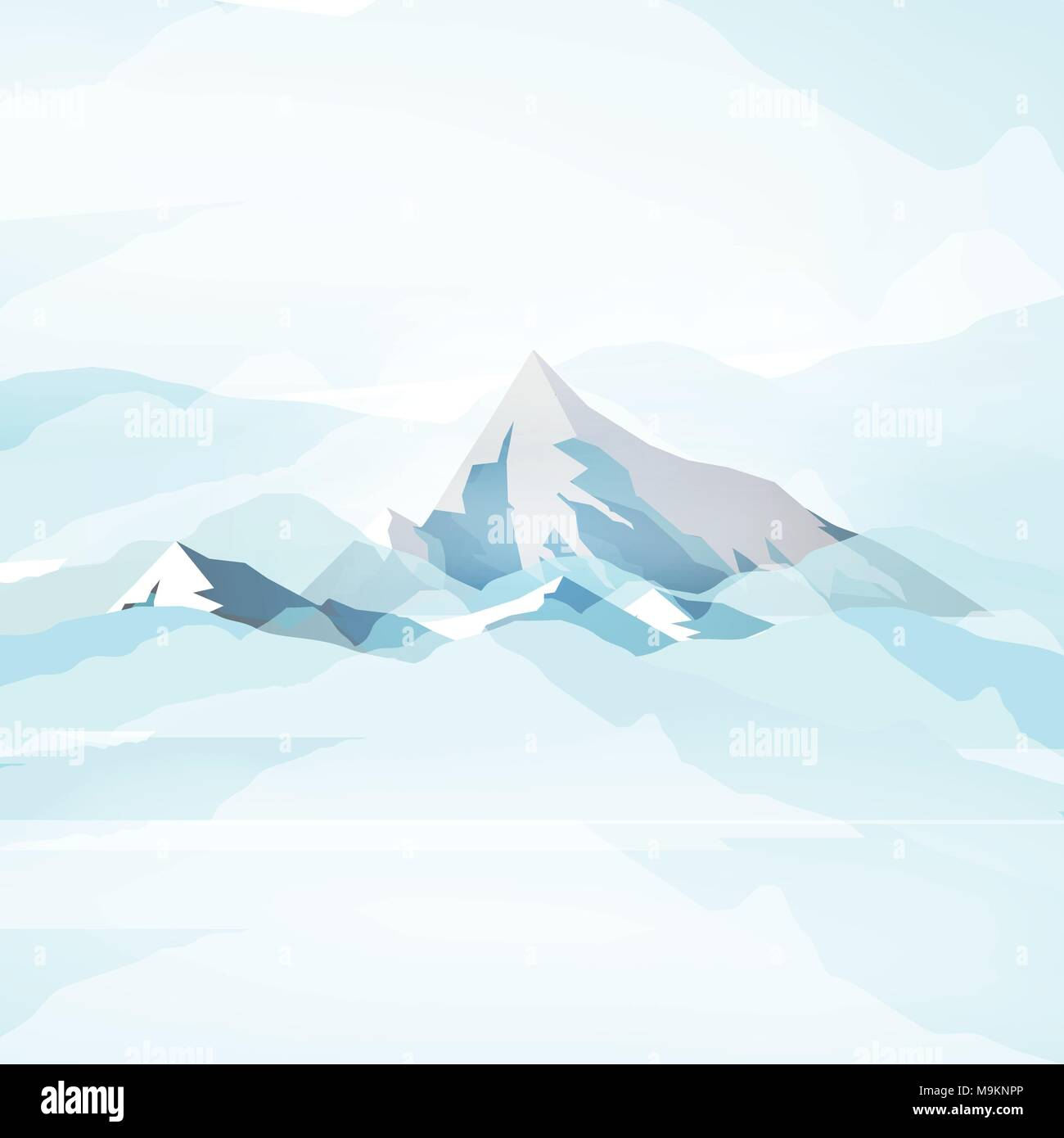 Winter High Mountains in Clouds - Vector Illustration - Stock Vector