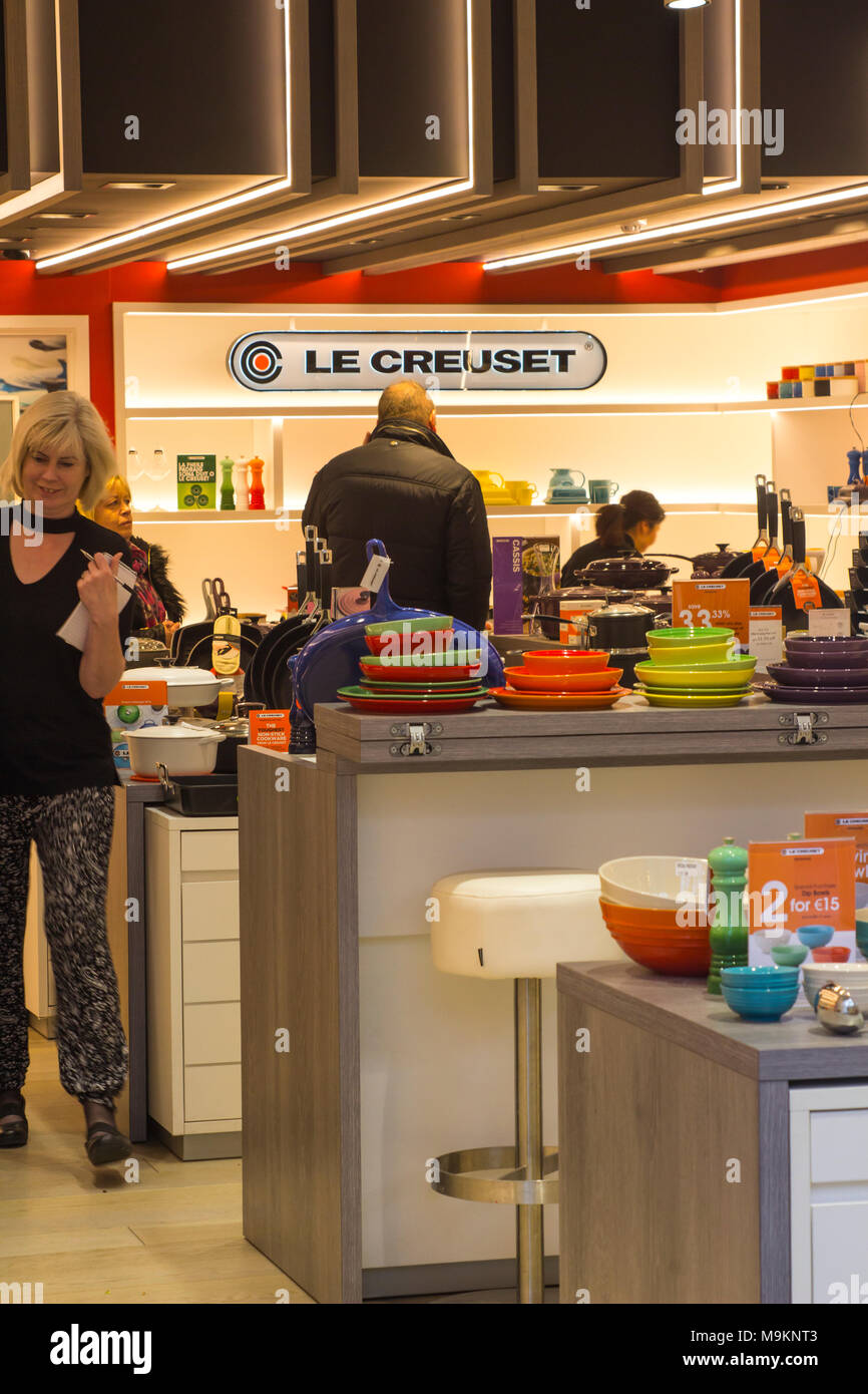 16 March 2018 The lighted interior of the Le Creuset  shop at Ireland's prestigious Kildare Village retail outlet - Stock Image