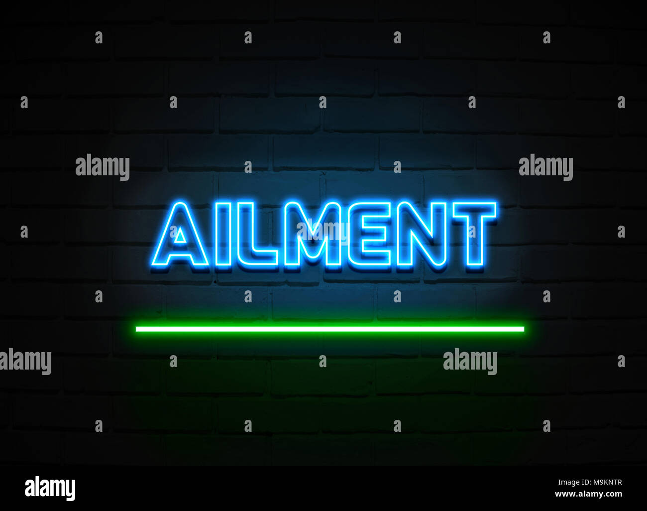 Ailment neon sign - Glowing Neon Sign on brickwall wall - 3D rendered royalty free stock illustration. - Stock Image